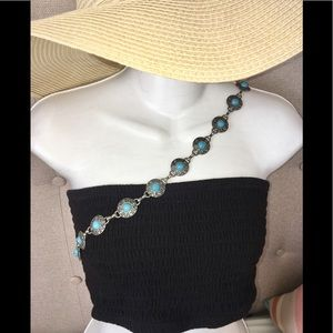 Silver and Turquoise Colored belt / necklace